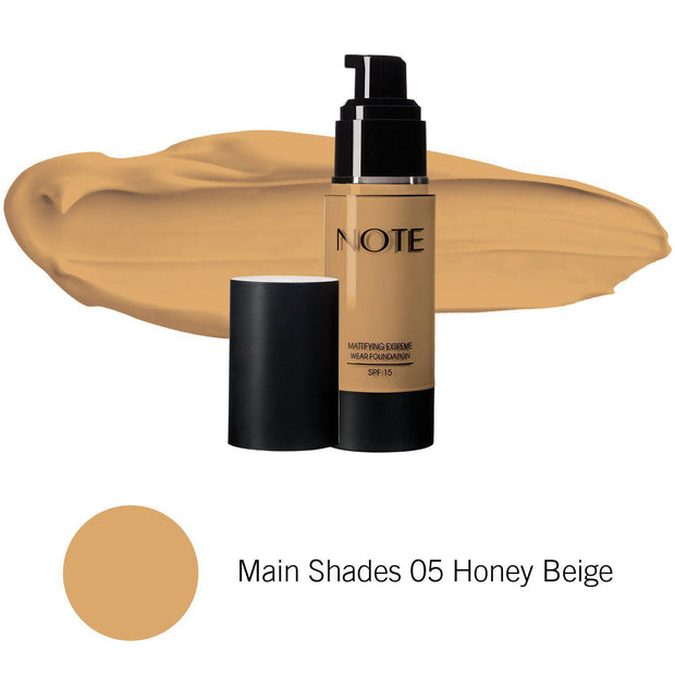 Mattifying Extreme Wear Foundation-NOTE-Main Shades 05 Honey Beige-Note Beauty
