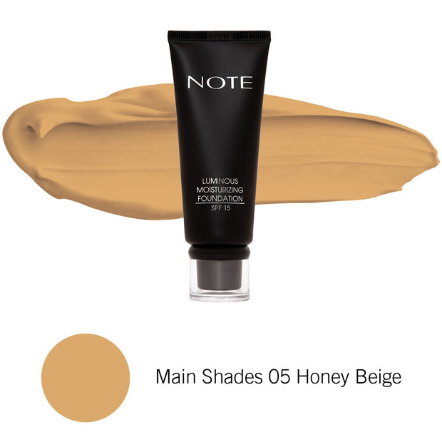 Luminous Moisturizing Foundation-NOTE-Main Shades 05 Honey Beige-Note Beauty
