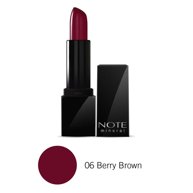 Makeup Mineral Semi Matte Lipstick-NOTE-06 Berry Brown-Note Cosmetics Canada