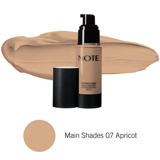 Mattifying Extreme Wear Foundation-NOTE-Main Shades 07 Apricot-Note Beauty