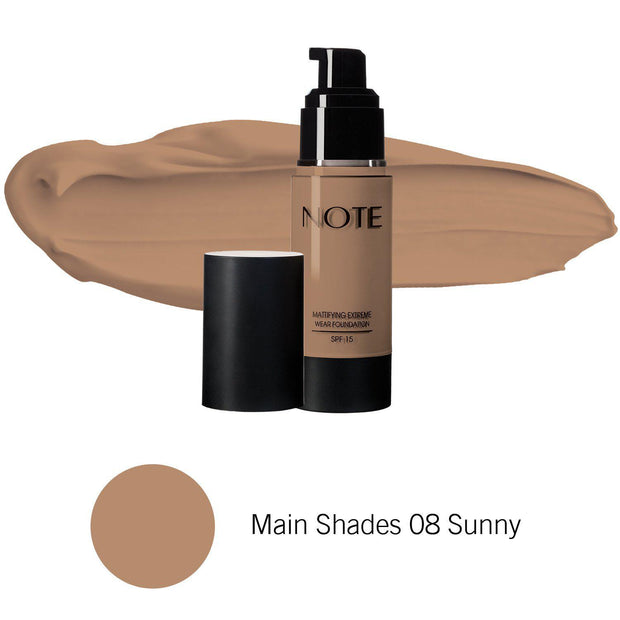 Mattifying Extreme Wear Foundation-NOTE-Main Shades 08 Sunny-Note Beauty