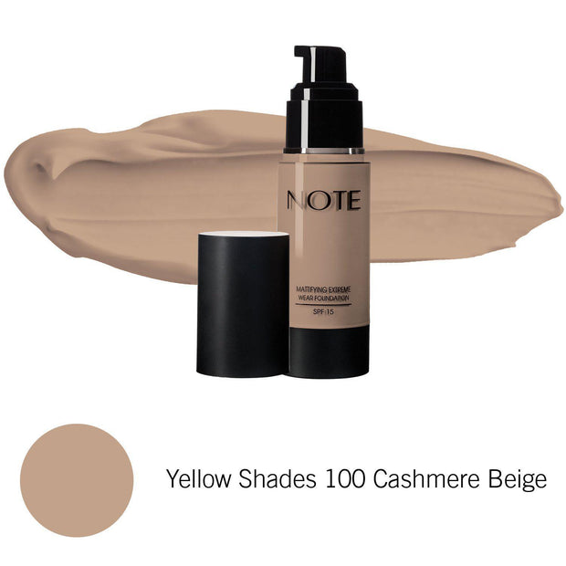 Mattifying Extreme Wear Foundation-NOTE-Yellow Shades 100 Cashmere Beige-Note Beauty