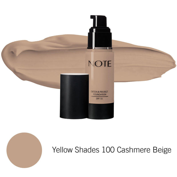 Detox & Protect Foundation-NOTE-Yellow Shades 100 Cashmere Beige-Note Beauty