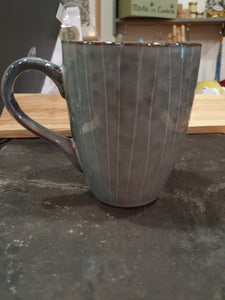 Winter White mug ang Grey Shadow Stripe Mug