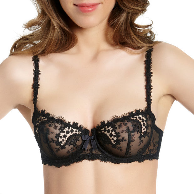 Wish by Simone Perele luxury Black lacy Bra. Low cut half cup balconnet bra.