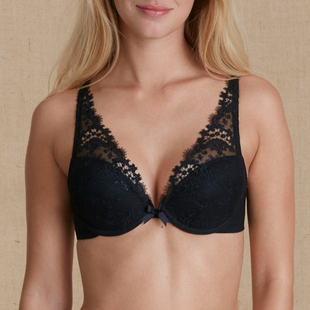 Wish Push-Up Plunge Bra Black