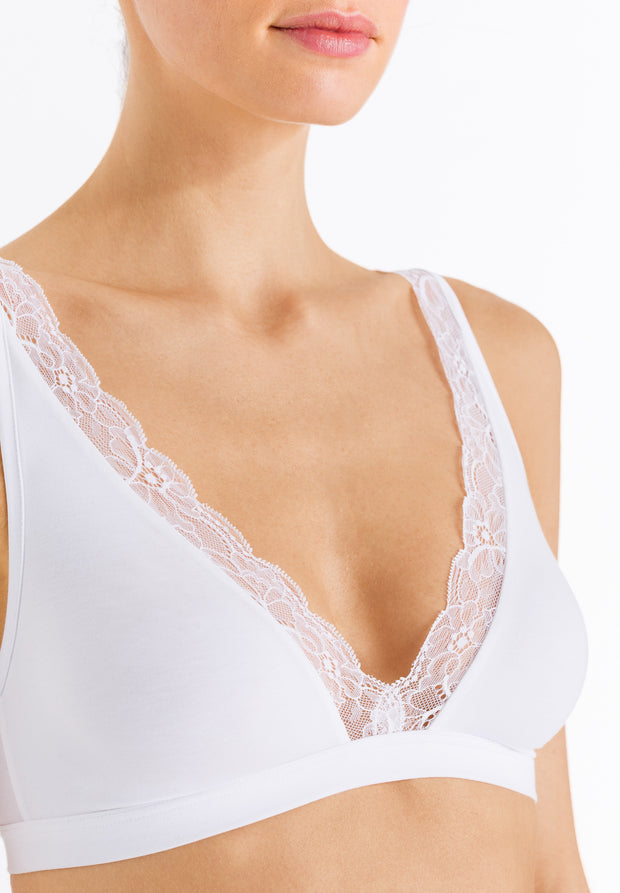 Cotton Lace Soft Cup Non Underwired Bra White