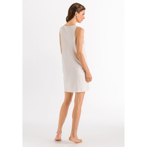 Back view of Valencia nightdress from Hanro, a luxurious sleeveless cotton nightdress with a feminine lace neck and shoulders