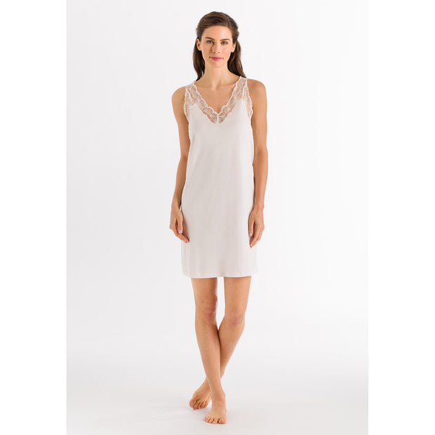 Valencia from Hanro, luxury sleeveless cotton nightdress with lace neck and shoulders 076994