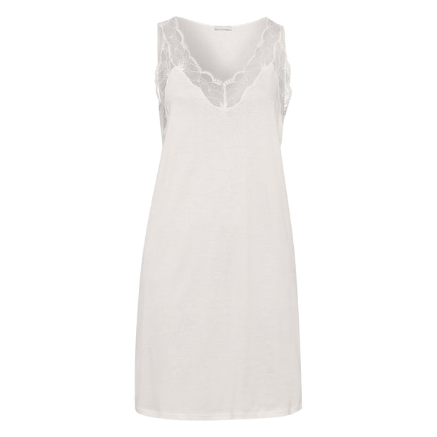 Valencia from Hanro, a luxurious sleeveless cotton nightdress with a feminine lace neck and shoulders (076994)