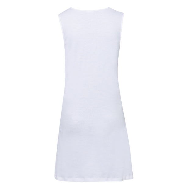 Back view of white sleeveless cotton nightie by Hanro