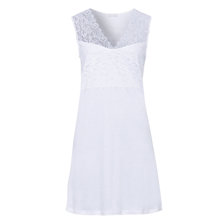 White cotton and lace sleeveless nightie by Hanro