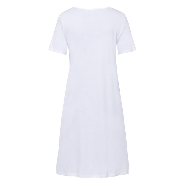Back view of knee-length short-sleeved cotton Hanro nightdress