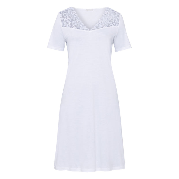 Knee-length short-sleeved cotton Hanro nightie