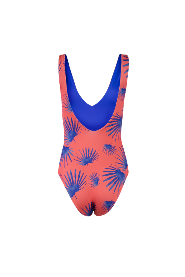 Ocean Coral Reversible One-Piece Swimsuit Orange & Blue