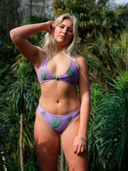 Savana Palm Full Brief Bikini Purple & Green