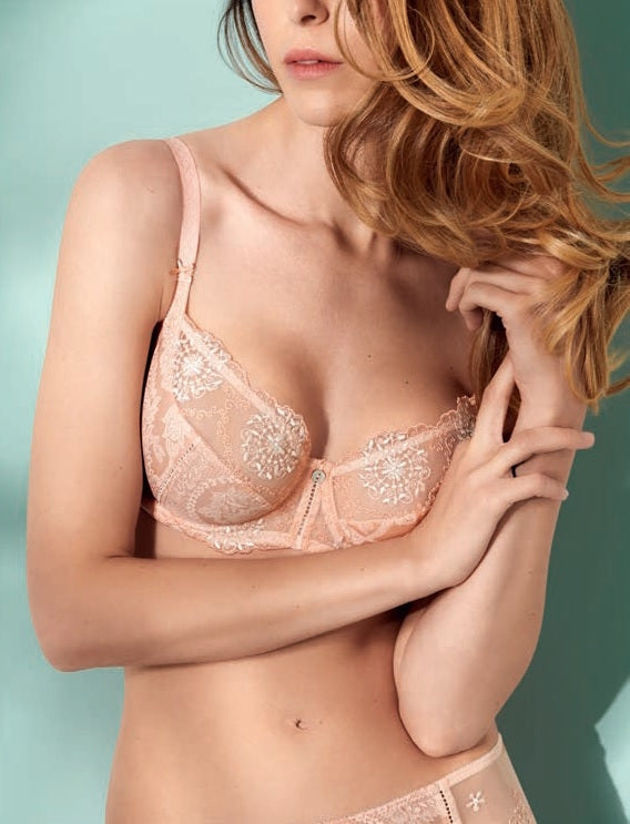 Lilly Rose Underwired Balconette Bra Peach