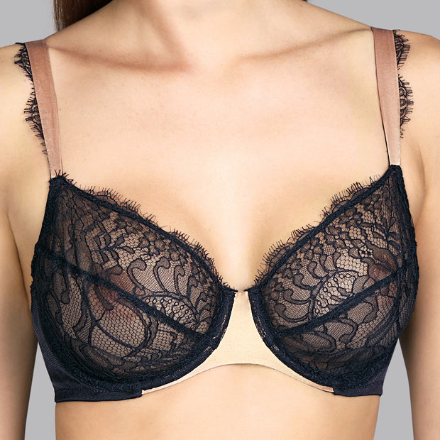 Love Underwired Lace Bra Black Charcoal