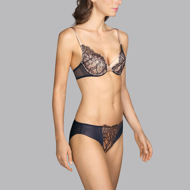 Love Lace Push Up Bra Black Charcoal