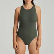 Holiday High Neck Padded Swimsuit Dark Olive