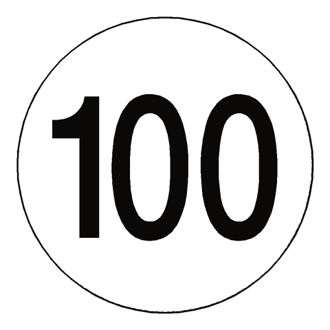 100 Kph Speed Limit Sticker International - Safety-Label.co.uk