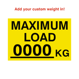 Max Load Sticker Kg Yellow Custom Weight | Safety-Label.co.uk