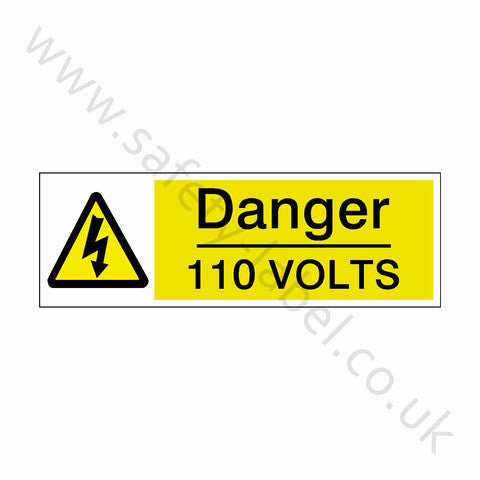110 Volts Safety Sign - Safety-Label.co.uk