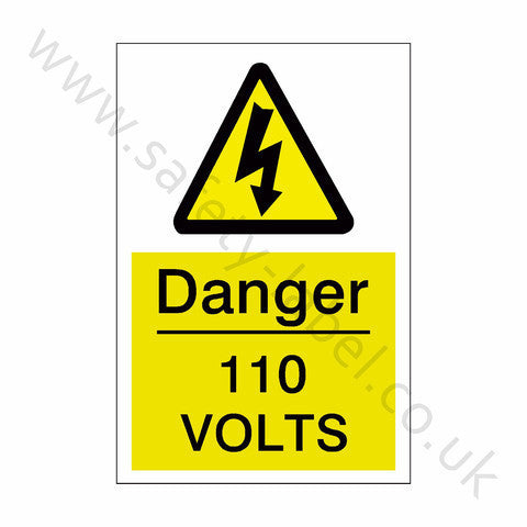 110 Volts Electrical Safety Sign - Safety-Label.co.uk