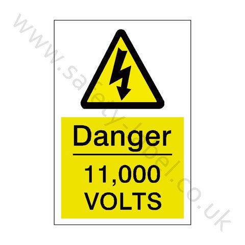 11,000 Volts Electrical Safety Sign - Safety-Label.co.uk