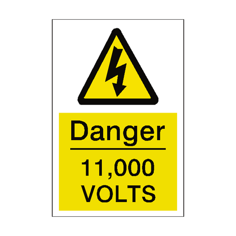 11,000 Volts Sticker - Safety-Label.co.uk