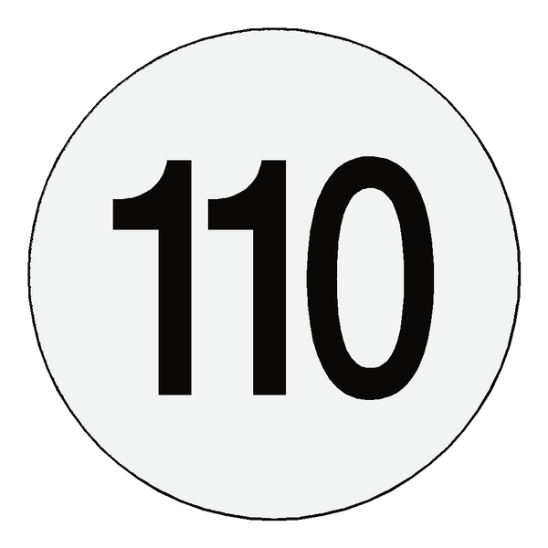 Reflective 110 Kph Speed Limit Sticker International | Safety-Label.co.uk