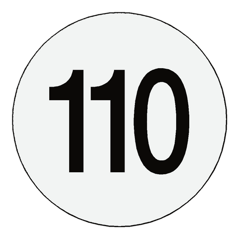 Reflective 110 Kph Speed Limit Sticker International - Safety-Label.co.uk