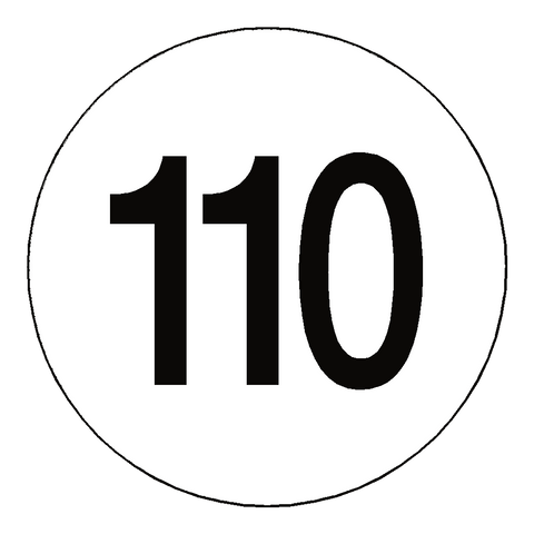 110 Kph Speed Limit Sticker International - Safety-Label.co.uk