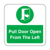 Pull Door Open From The Left Floor Graphics Sticker | Safety-Label.co.uk