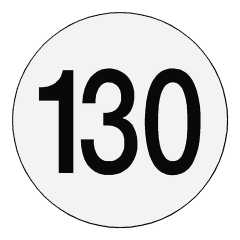 Reflective 130 Kph Speed Limit Sticker Reflective - Safety-Label.co.uk