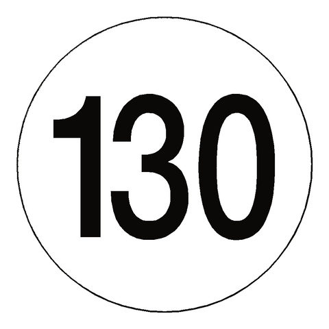 130 Kph Speed Limit Sticker International - Safety-Label.co.uk