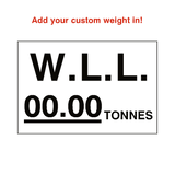 W.L.L Sticker Tonnes White Custom Weight | Safety-Label.co.uk