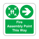 Fire Assembly Point Arrow Right Floor Graphics Sticker | Safety-Label.co.uk