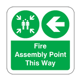 Fire Assembly Point Arrow Left Floor Graphics Sticker | Safety-Label.co.uk