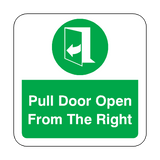 Pull Door Open From The Right Floor Graphics Sticker | Safety-Label.co.uk