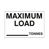 Maximum Load Sticker Tonnes White