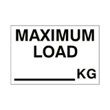Maximum Load Sticker Kg White | Safety-Label.co.uk