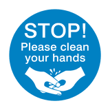 STOP! Please Clean Your Hands Sticker | Safety-Label.co.uk