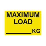 Maximum Load Sticker Kg Yellow | Safety-Label.co.uk