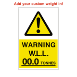 Working Load Limit Sticker Tonnes Custom Weight | Safety-Label.co.uk