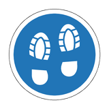 Social Distance Foot Print Floor Sticker - Blue | Safety-Label.co.uk