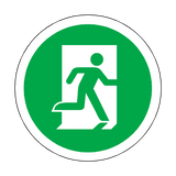 Fire Exit Running Man Right Floor Marker Sticker | Safety-Label.co.uk