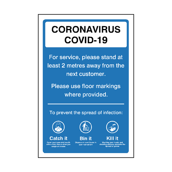 Coronavirus 2 Metres Retail Sticker | Safety-Label.co.uk