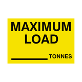 Maximum Load Sticker Tonnes Yellow