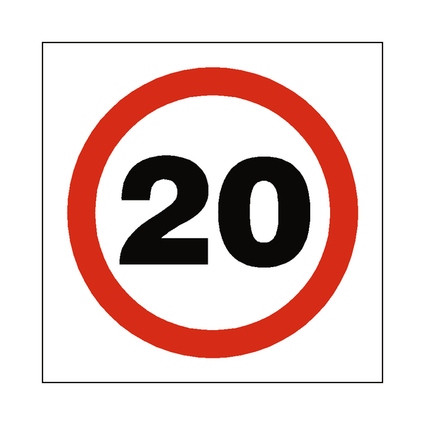 20 Mph Speed Sign | Safety-Label.co.uk